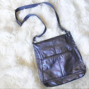 The Sak blue metallic leather crossbody bag